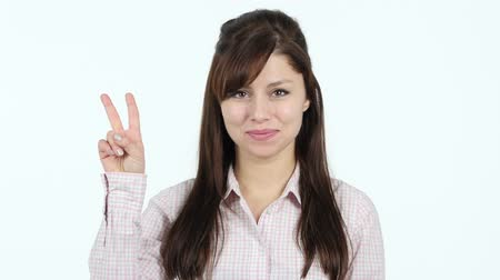 businesswomen : Victory Sign by Young Girl Stock Footage