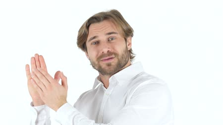 sikerül : Clapping Man on white Background