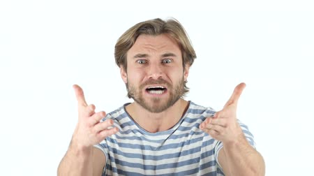 aggression : Angry Man Yelling on white Background Stock Footage