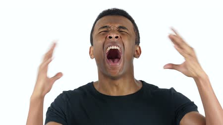 hüsran : Black Man Screaming, white Background Stok Video