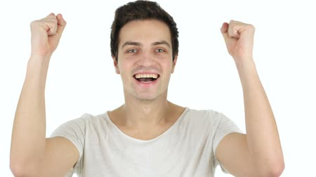 sikerül : Successful Man Celebrating Win, White Background
