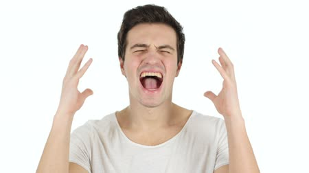 взрывной : Screaming Man, White Background Стоковые видеозаписи