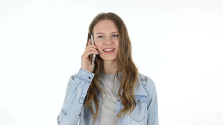 мобильный телефон : Talking on Phone, Woman on White Background