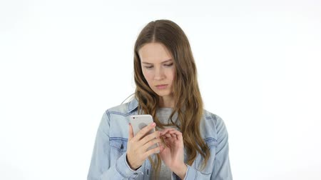 navegador : Woman Using Internet on Smart phone, White Background