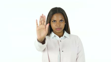 sallamak : Afro-American Woman Gesturing Stop Signing with Hand