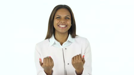 welcome sign : Inviting Gesture by Afro-American Woman, White Background