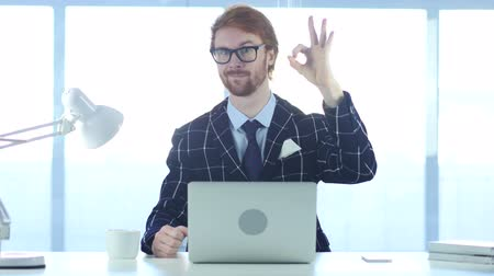 siker : Redhead Businessman with Satisfaction Gesture at Work, Okay