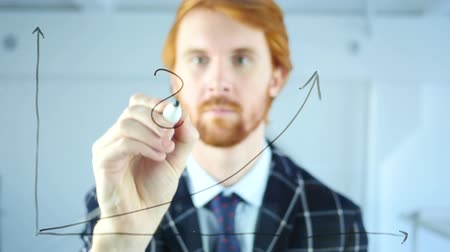 leitor : Man Drawing Dollar Sign on Growth Graph on Transparent Glass, Red Hairs Vídeos