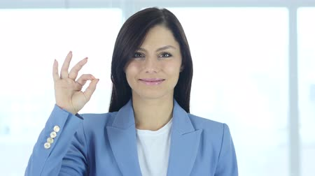 siker : Okay Sign by Young Businesswoman, Gesture Stock mozgókép