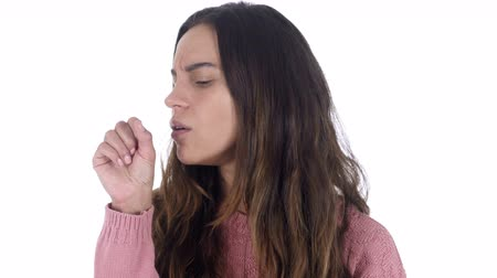 garganta : Sick Young Latin Girl with Cough, Coughing, White Background Stock Footage