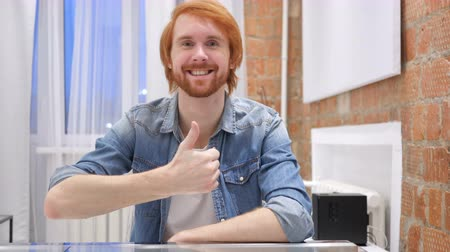 vöröshajú : Portrait of Redhead Beard Man Gesturing Thumbs Up, indoor Stock mozgókép