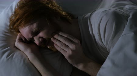 healthy office : Toothache, Redhead Beard Man with Tooth Infection Sleeping in Bed Stock Footage