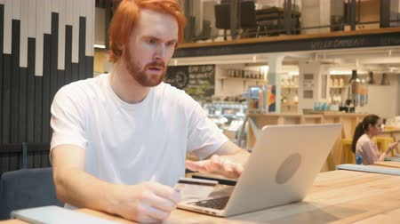 eatery : Fail Online Shopping by Redhead Beard Man, Payment Error Stock Footage