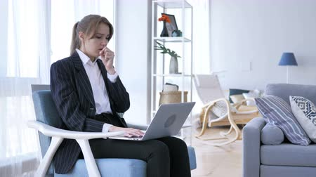 healthy office : Sick Creative Woman Coughing at Work in Office, Cough Stock Footage