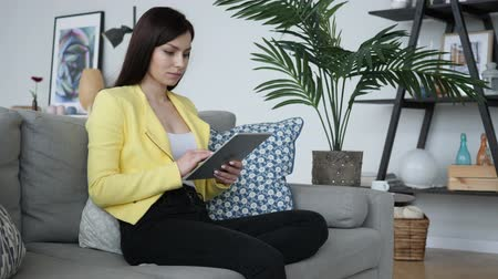 tab : Woman Typing Text on Tablet, Chatting for Networking Stock Footage