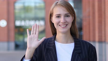 welcome sign : Hello Sign by Young Business Woman