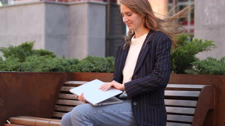 desperate student : Business Woman Coming and Sitting on Bench and working on Laptop