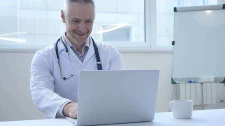 medical student : Online Video Chat by Doctor Stock Footage