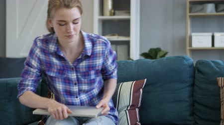 desperate student : Creative Woman Coming for Doing Work on Laptop Stock Footage