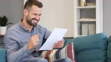 подпись : Man Excited after Reading Documents