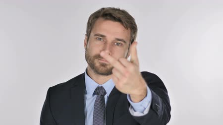 adversidade : Portrait of Businessman Showing Middle Finger Stock Footage