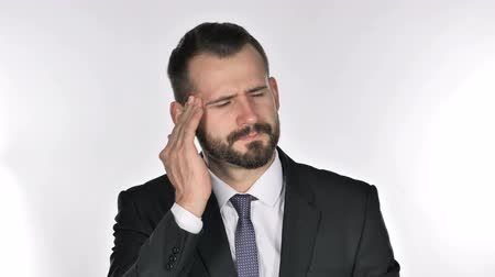 disturbed : Portrait of Beard Businessman Gesturing Headache, Stress