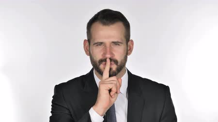 hang : Portrait of Beard Businessman Gesturing Silence, Finger on Lips