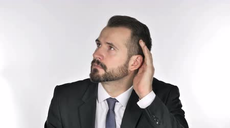 know : Beard Businessman Listening Secret White Background