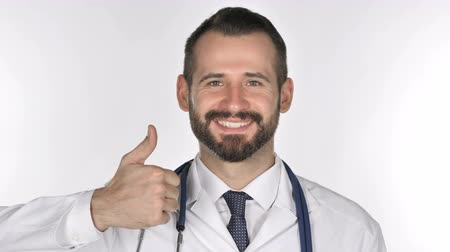 winnings : Portrait of Doctor Gesturing Thumbs Up Stock Footage