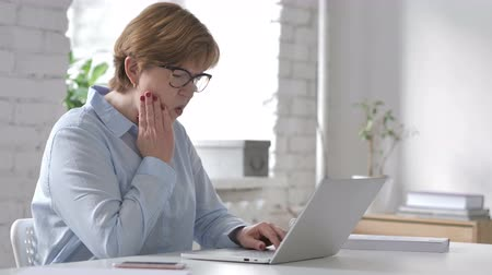 healthy office : Toothache, Old Woman with Tooth Pain at Work Stock Footage