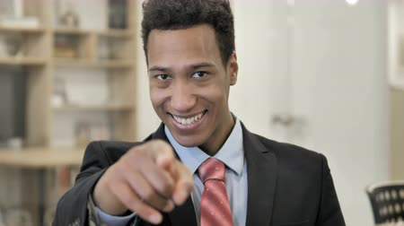 invite : Invitation Gesture by African Businessman Stock Footage