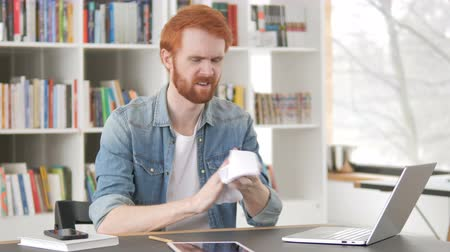 szakadt : Angry Casual Redhead Man Tearing Contract, Torn Stock mozgókép