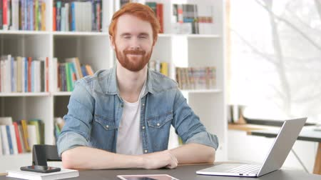 beard man : Yes, Casual Redhead Man Accepting Offer at Work