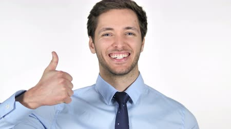 obličejový : Thumbs Up by Young Businessman on White Background