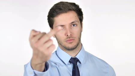adversidade : Young Businessman Showing Middle Finger on White Background Stock Footage