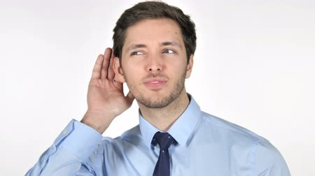 know : Young Businessman Listening Secret, White Background