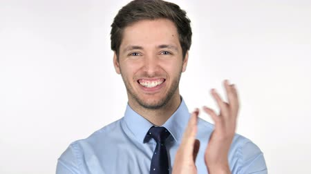 obličejový : Portrait of Applauding Businessman, Clapping Dostupné videozáznamy