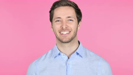 admiracion : Yes, Admiring Young Man on Pink Background