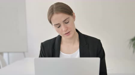ashamed : Close Up of Young Businesswoman Reacting to Loss Stock Footage