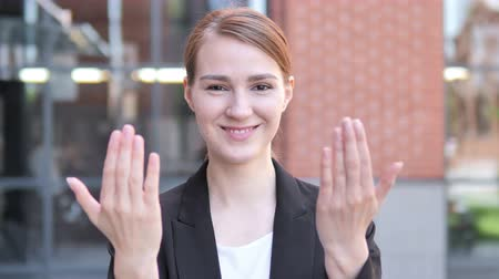 invite : Outdoor, Young Businesswoman Inviting New People Stock Footage