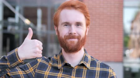 suceder : Thumbs Up by Redhead Beard Young Man, Outdoor Vídeos