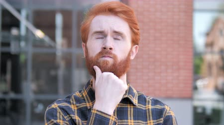 ruivo : Outdoor Redhead Beard Young Man Thinking New Idea Stock Footage