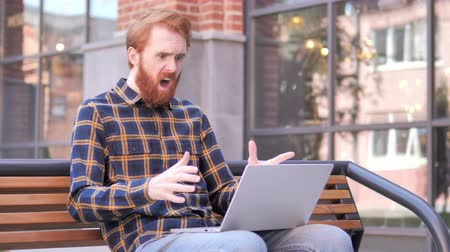 desperate : Man Frustrated by Results, Sitting Outside Office
