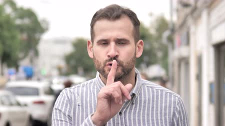 rejeitar : Silence Please, Finger on Lips by Beard Casual Man Stock Footage