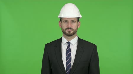 one man only : Young Engineer looking in Camera against Chroma Key