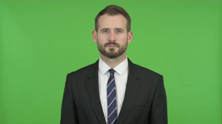 introspection : Young Businessman looking in Camera against Chroma Key