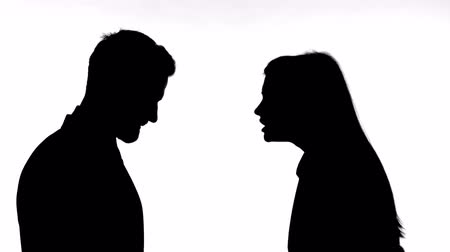 slapping : Silhouette of Woman Fighting with Man against White Background