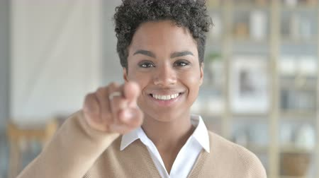 beckoning : Portrait Shot of Cheerful African Girl Calling by Hand gesture