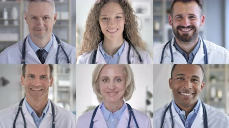 lekarz : Collage of Doctors Looking At the Camera And Smiling Wideo