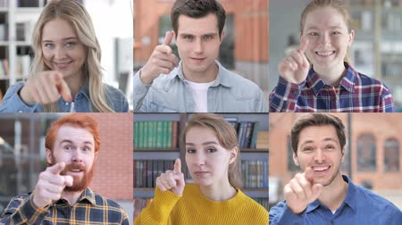 merging : Collage of Young People Pointing With Finger